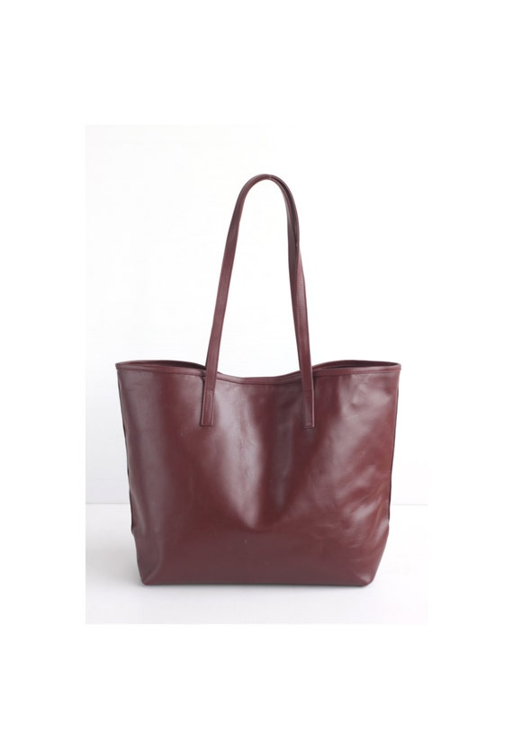 3929262d31e0 JAIMEE Maroon Leather Tote bag. Ox Blood Leather Bag. Tote