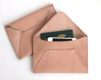 Leather Envelope Wallet. Leather Wallet. Envelope Wallet. Women Leather Wallet. Travel Document Holder. Leather Organizer. Cash wallet