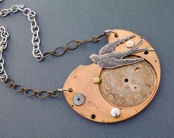 Steampunk Necklace Womens Necklace Steampunk Jewelry Womens Short Necklace Watch Parts Necklace