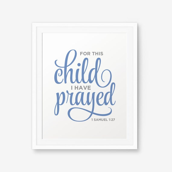 Para este niño tengo orado imprimibles 1 Samuel 1:27 verso | Etsy
