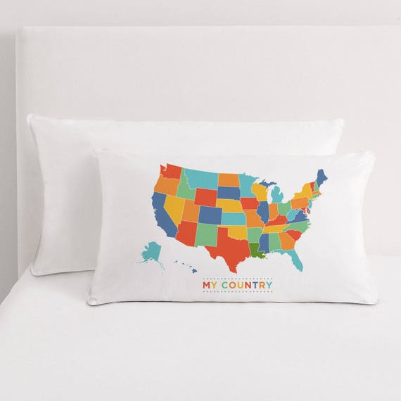 Usa Map Pillow Any Country Map Pillow My Country Pillow Etsy