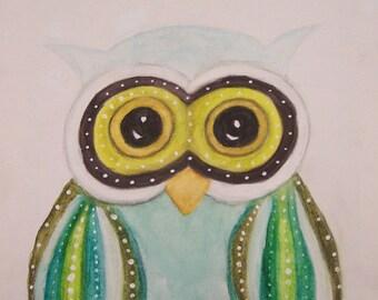 Owl Blank Note Card, Greeting Card, Art Card, Digital Art 5x7