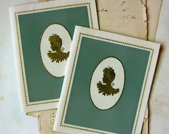 1940s greeting cards - set of 2 cameo pattern in gold foil and wedgwood blue - 4 leaf fold out style note cards