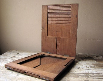 antique wood retouching easel desk, contact print or negative film carrier for early photography process - maybe!