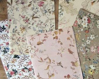 vintage floral wrapping paper - 1980s reproduction 18th century wallpaper design gift wrap - one sheet -