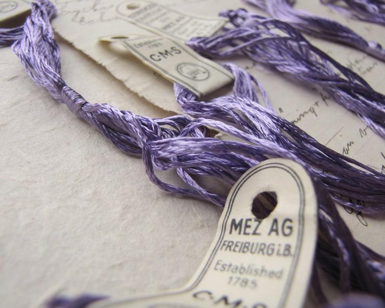German Mez artificial silk thread antique embroidery floss pastel violet colour 476 circa 1920s