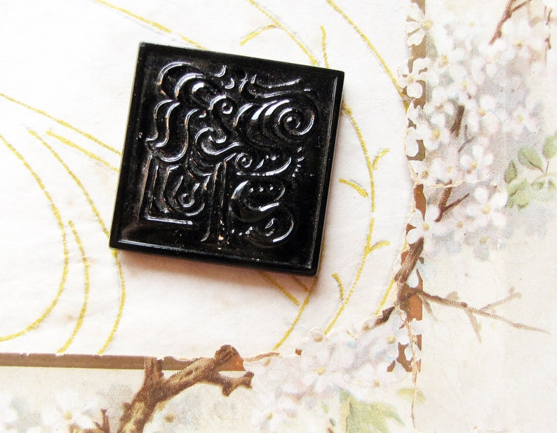 square flat focal plate with organic abstract designs Czech glass pendant circa 1960s modernist style top drilled