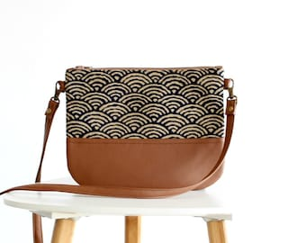 Crossbody leather bag, Clutch Purse, Every day purse, Vegan, Every day bag, Brown, Seigaiha
