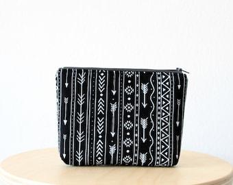 Black tribal print Cosmetic bag, Zipper pouch, Small clutch, Swallow print, School supplies, Birds, Nature, Natural linen look