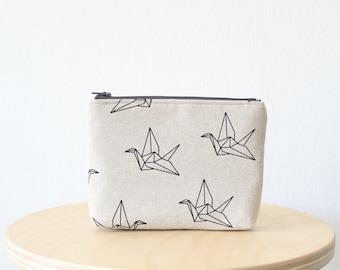 Cosmetic bag, Zipper pouch, Small clutch, Origami bird print, Origami crane, School supplies, Birds, Nature, Natural linen look
