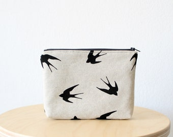 Cosmetic bag, Zipper pouch, Small clutch, Swallow print, School supplies, Birds, Nature, Natural linen look