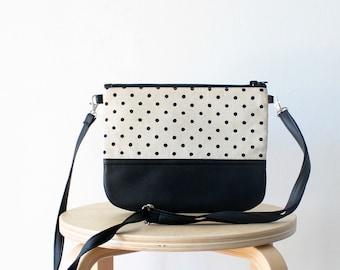 Small Crossbody everyday purse Polka dot Linen Vegan leather