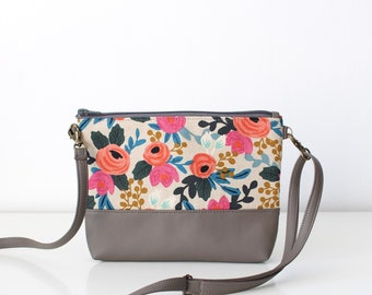 Small Floral Vegan Leather Canvas Crossbody Bag Every day purse Spring Fashion