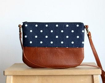 Denim Polka dot Crossbosy every day bag Clutch Purse Vegan leather Brown Navy Small purse