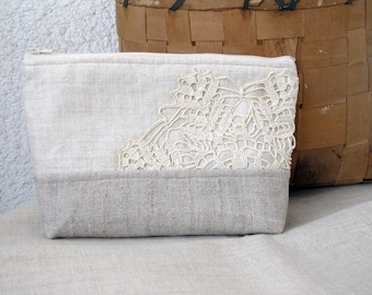 Almost Invisible - Vintage Doily and Linen Clutch purse, Cosmetic bag, Zipper pouch