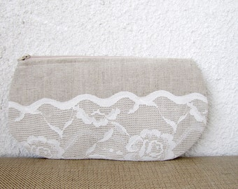 Lacy waves - Linen and Vintage Lace Clutch Purse
