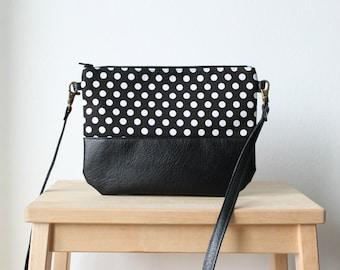 Black and white leather polka dot bag,Small bag,Crossbody bag,Fashion bag,