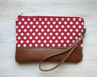 Red Polka dot Clutch Purse Retro Vegan Faux leather Wristlet Navy Vintage look