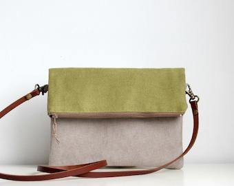 Foldover crossbody bag, Every day purse,  Handbag, Leather strap, Green