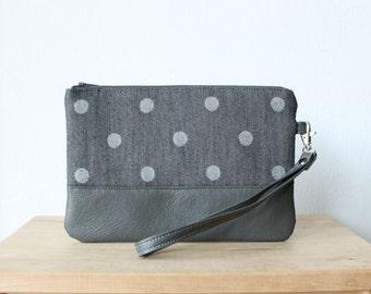 Dark grey Polka dot Clutch Purse Wristlet Vegan Faux leather Retro Wallet