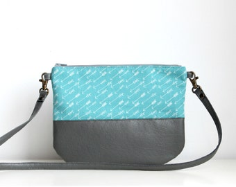 Aqua blue crossbosy every day bag, Fasnhion bag, Clutch Purse, Vegan, Cotton, small purse