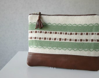 Wool Autumn Winter Clutch Purse Leather Green stripes Cosmetic Bag