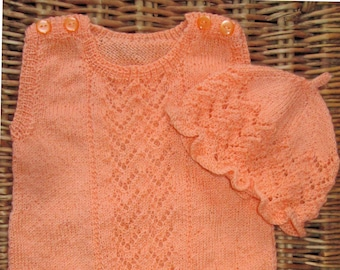 Hand knitted OOAK orange silk lace lacy baby girl's sleeveless romper bodysuit and ruffled mop hat, frilly beanie hat, photography prop