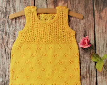 Hand knitted OOAK bright yellow silk lace lacy baby girl's toddlers sleeveless outfit romper playsuit harem pants bodysuit photography prop