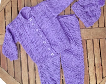 a92390db4 Baby infant girl hand knitted pale pink matinee outfit of