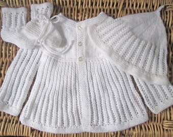 Newborn baby's infant boy or girl traditional handknitted white lacy lace matinee jacket and cap / hat with booties pram outfit set