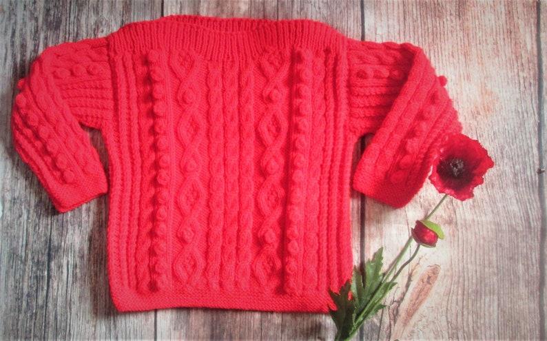 9f02ef1d0f08 Bright red handknit warm aran cable boys girls childs unisex
