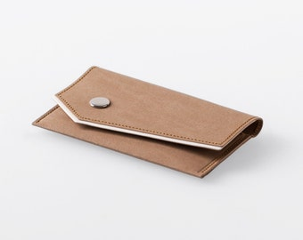 Bordered Angled Washable Paper Business Card Case in Sahara Camel