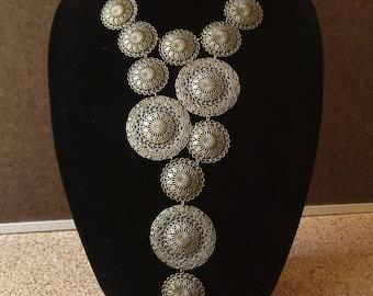 Statement bib necklace, boho style lightweight filigree bib necklace