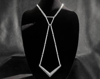 Statement tie necklace, minimalist geometric unisex necklace