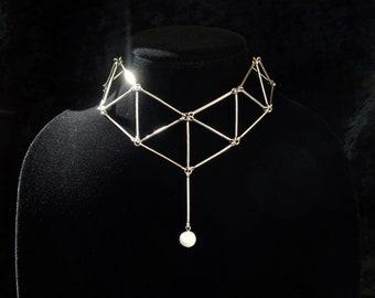 Minimalist geometric choker with genuine fresh water pearl