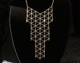 Geometric bib necklace, minimalist statement geo bib necklace