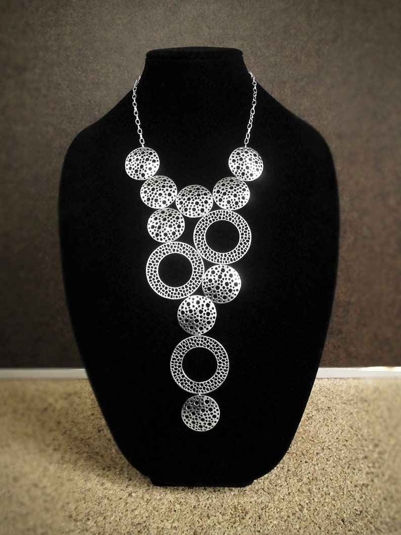 Statement bib necklace modern geometric runway necklace Silver