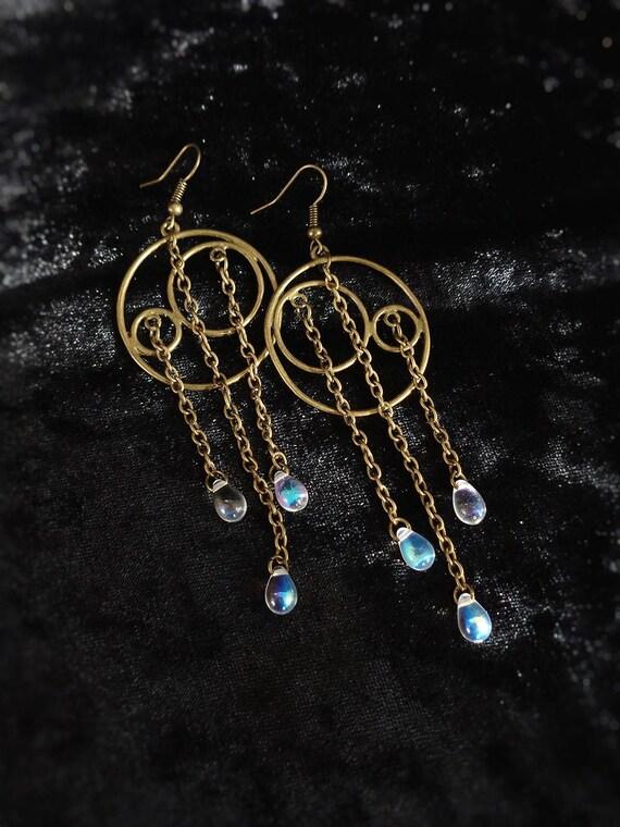 modern geo shoulder dusters silver tone link grid earrings Statement geometric earrings
