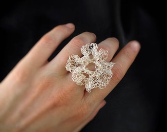 Wire crochet ring, silver plated statement ruffle flower cocktail ring, gift for her