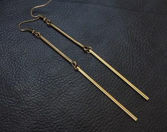 Modern minimalist earrings, antique brass tone raw brass bar 2 tone colorblock shoulder dusters