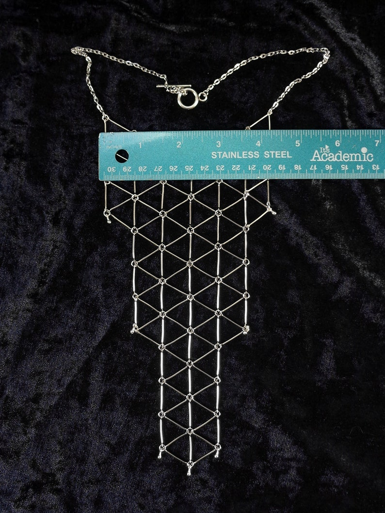 Geometric bib necklace minimalist statement silver tone geo bib necklace