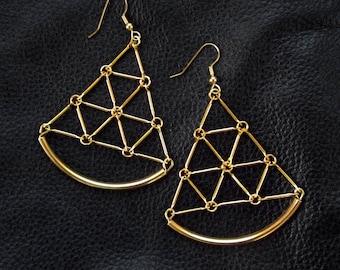 Modern geometric earrings, gold tone minimalist geo statement earrings, lightweight shoulder dusters