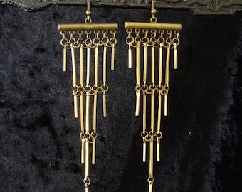 Modern statement earrings, minimalist geometric lightweight raw brass Art Deco shoulder dusters