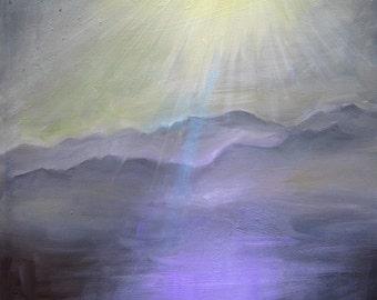 Purple landscape painting, original oil painting, serene sunlit valley landscape, ready to hang art