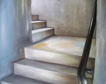 Staircase Oil Painting, Original Cityscape contemporary Art, grey gray urban wall art