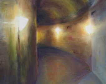 Tunnel Art Print, moody contemporary oil painting reproduction, grey brown wall art