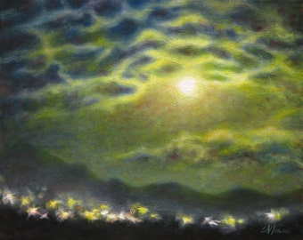 Night landscape painting, original nocturnal skyscape oil painting, full moon art