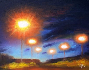 Night sky Art Print, nocturnal cityscape oil painting print, blue and orange wall art