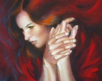 Red portrait art print, contemporary female portrait oil painting art print, lady in red wall art
