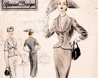 50s Fashion Paper Sewing Pattern flap patch pockets Bust 37 38 39 ff 1950s VOGUE 7533-1951 Womens Slightly flared Coat